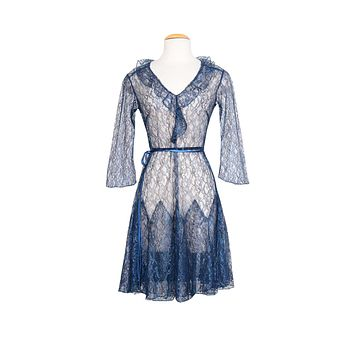 Louise Flapper Dress In Sheer Blue Lace