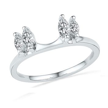14kt White Gold Women's Oval Diamond Ring Guard Wrap Solitaire Enhancer 1/2 Cttw - FREE Shipping (US/CAN)