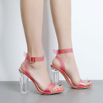 Summer High Heels Jelly Shoe Women Sandals Ankle Strap Perspex Clear Crystal Concise