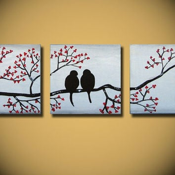 Wedding Gift, Large Love Birds Painting, 60 x 20, Acrylic Art canvas,  anniversary gift, ready to hang, ORIGINAL red flowers tree