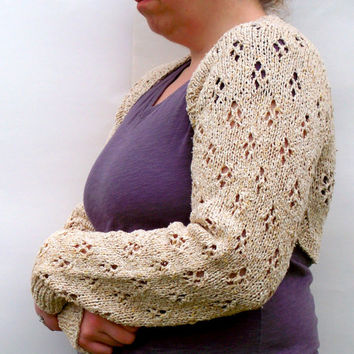 Knit Eyelet Shrug - Womens Silk Bolero With Long Sleeves In Sand - Lace Sweater - Handmade Knitwear