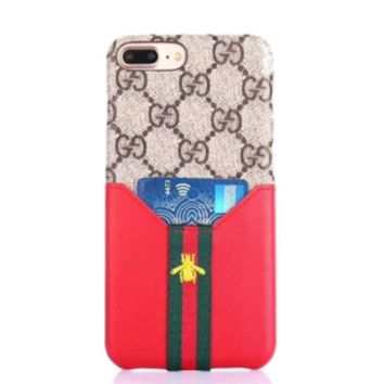 GUCCI Fashion New More Letter Leather Stripe Bee Card Sleeve Protective Cover Phone Case