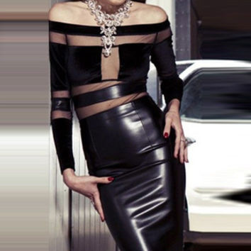 Sexy Knee Length Slash Neck Long Sleeve Vinyl Leather Dress Black Patchwork Strapless Slim Fit PU Dresses W373515