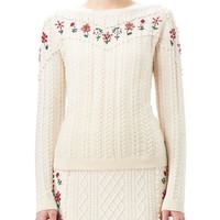 Altuzarra Amalia Cable-Knit Sweater with Floral Embroidery, White