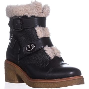 COACH Preston Double Buckle Booties, Black/Natural, 9.5 US
