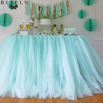 5pcs 100*80cm DIY Tulle Tutu Table Skirt Table skirting Baby Shower Birthday banquet Wedding Decoration Home Textile white pink