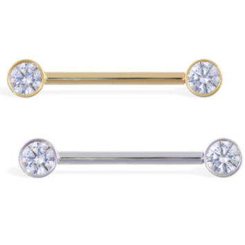 14K Real Gold Nipple Ring With Bezel Setting CZ, 14 Ga