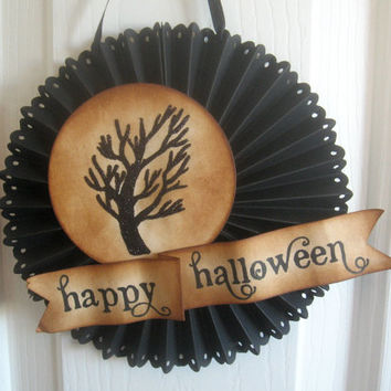 Halloween glittered SPOOKY TREE door or wall medallion