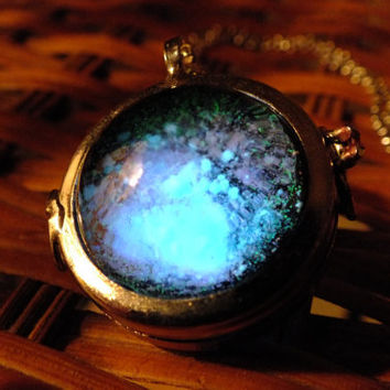 Glow In The Dark Glass Orb Galaxy Necklace by GeekOUTlet on Etsy