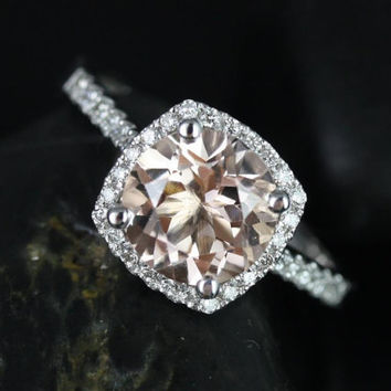 Samina 8mm Size 14kt White Gold  Morganite and Diamonds Cushion Halo Engagement Ring Only (Other metals and stone options available)