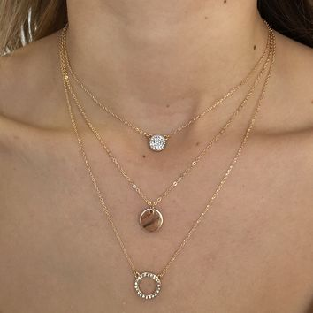Trio Crystal Layered Necklace in Gold