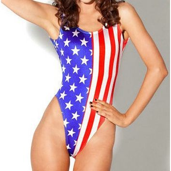 Fashion Summer New Star Stripe Print National Flag Beach Wading Sports Vest One Piece Bikini Swimsuit