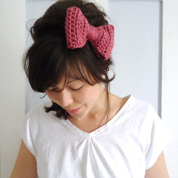 Crochet Bow Hair Band Rose Pink by ChiChiDee on Etsy