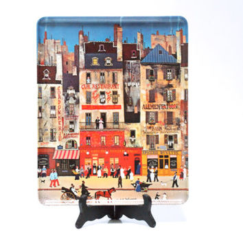 ITALIAN MELAMINE Tray, made by Mebel, Paris Street Cafe Scene, Retro 1970s, Perfume Vanity Tray