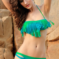Blue and Green Cut-Out Tassel Trim Bikini