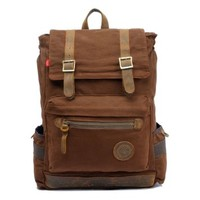 "ZLYC Men Canvas Leather Hiking Travel Backpack Tote Bag Fit 17"" Laptop"