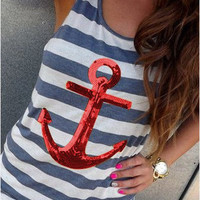 Red Sequined Striped Anchor Tank Top