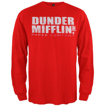 The Office - Dunder Mifflin Long Sleeve Red T-Shirt