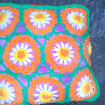 Vintage Hand Crochet Wrapped Colorful Flower Pillow