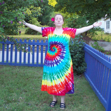 Tie Dye Dress -XL, 2XL 3XL - Plus Size- Rainbow Tie Dye