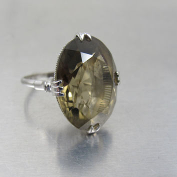 Vintage Smoky Quartz Sterling Ring, Art Deco Japanese Silver Smoky Quartz Rock Crystal Jewelry, Unique Engagement Ring, Size 6.25