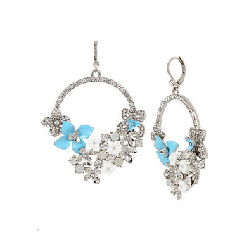 BLUE LA LA FLOWER CIRCLE EARRINGS: Betsey Johnson