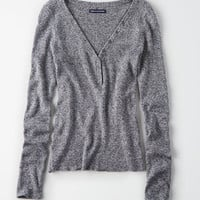 AE Ribbed Snap Henley Pullover, Gray