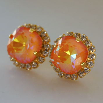 Orange Earrings, Swarovski Crystal, Cushion Cut Square, Opal Halo Rhinestone Stud Earrings, Crystal Stud, Ultra Orange AB, Neon