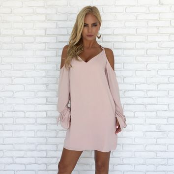 Joy Shift Dress in Blush Pink