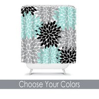SHOWER CURTAIN Custom MONOGRAM Personalized Bathroom Decor Flower Burst Pattern Aqua Gray Black Beach Towel Plush Bath Mat Made in Usa