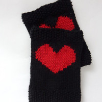 Black Knitted Boot Cuffs With Plain Red Heart Socks, Boot Topper, Leg Warmer, Boot Covers - Choose Your Color Valentine Day