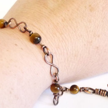 Infinity Link Bracelet, Tigers Eye and Upcycled Copper Wire, Hand Crafted, OOAK, Wire Wrapped Jewelry, Jewellery, Plus size, Unisex