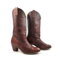 Acme Cowboy Boots Vintage 1980s Leather Whiskey Brown Women's size 8