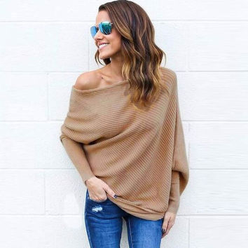 Women Sweaters And Pullovers Spring 2017 Fashion Out Off Shoulder Sexy Knitted Sweater Ladies Bat Sleeve Pullover Women N10912