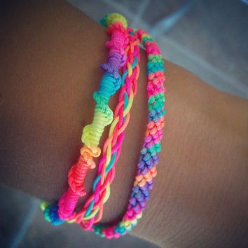 Neon Multi-Colored Bright Friendship Bracelet With Silver Clasp