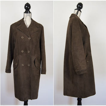 Vintage Adastra Womens Brown Soft Real Leather Ladies Long Coat Jacket UK12 70s