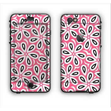The Pink and Black Vector Floral Pattern Apple iPhone 6 Plus LifeProof Nuud Case Skin Set