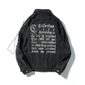 men's High Street Kanye Letter Embroidery denim jacket Hip Hop Chain Broken hole jeans Jackets loose stand pleated coats