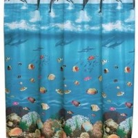 "Carnation Home Fashions 70"" x 72"" Fabric Shower Curtain, Seascape"