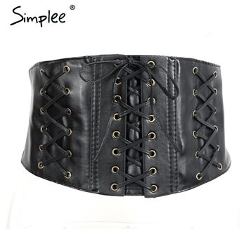 Sexy synthetic leather black belts Lace up slim buckle belt corset Body con elegant cummerbund for women