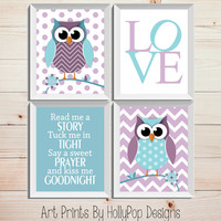 Purple Teal Nursery Decor-Owl Nursery Art Prints-Read Me A Story Tuck Me in Tight-Nursery Quad Print Set-Cute Woodland Owls-LOVE typography