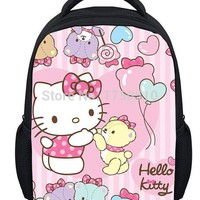 Fashion Cartoon Cat Print School Bags for Girls,Hello Kitty Bag Kids School Bag Baby Mochila Infantil,Cute Hello Kitty Backpack