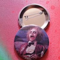 Beetlejuice pin horror badge pinback button hand pressed 2-1/4 inch pin  80s retro