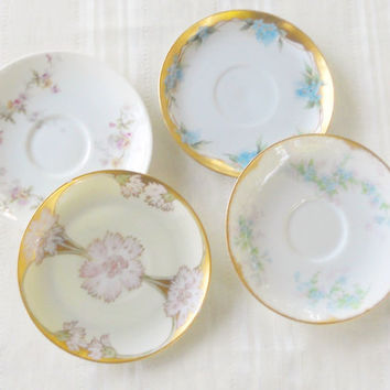 Antique French Romance Shabby Chic  Mismatched Saucers, Set of 4, Wedding, Tea Party, Elegant Dinner Party