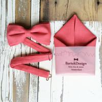 Set Bow Tie & Pocket Handkerchief by BartekDesign: coral salmon pink linen wedding grooms