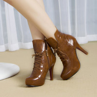 Womens Stylish Lace-Up Bootie Heels