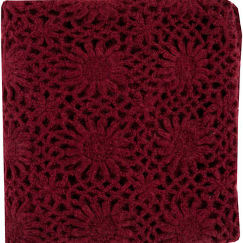 Surya Teresa 50 by 60 inches Crocheted Acrylic Throw, Eggplant