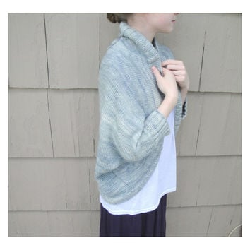 Blue Shrug Wrap, Shawl Cardigan, Shoulder Warmer, Bed Jacket, Merino Wool, Hand Knit Knitted, Leaf Pattern