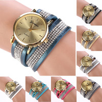 Synthetic Leather Round Casual Wristwatch