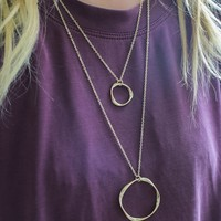 Go Around In Circles Necklace - Gold